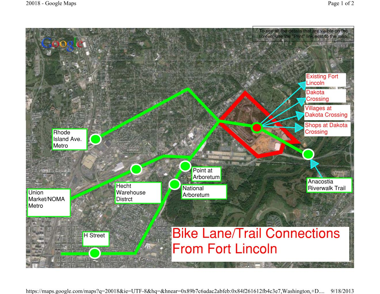 Bike lane Destinations From Fort Lincoln